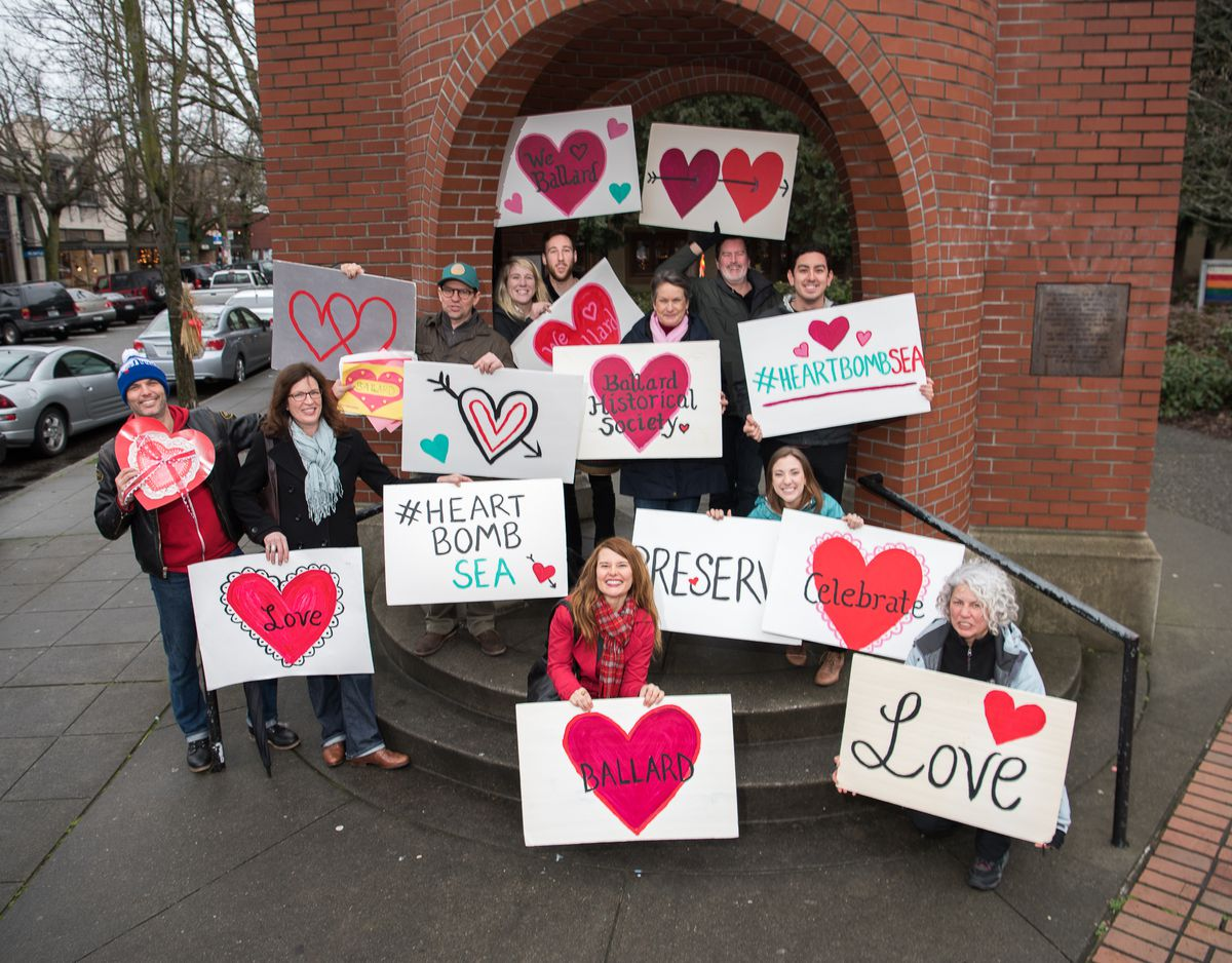 Facing redevelopment cp coffee fights the powerwith love curbed a previous heart bombing outside the ballard bell tower courtesy of historic seattle malvernweather Choice Image