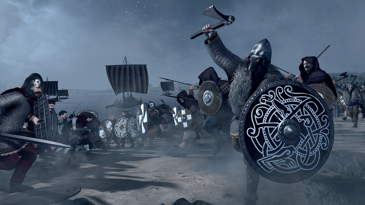 Total War Saga: Thrones of Britannia - warrior charging with ax and shield