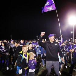Weber State Wildcats head coach Jay Hill celebrates after the Wildcats defeat the Southern Utah Thunderbirds in NCAA football in Cedar City on Saturday, Dec. 2, 2017.