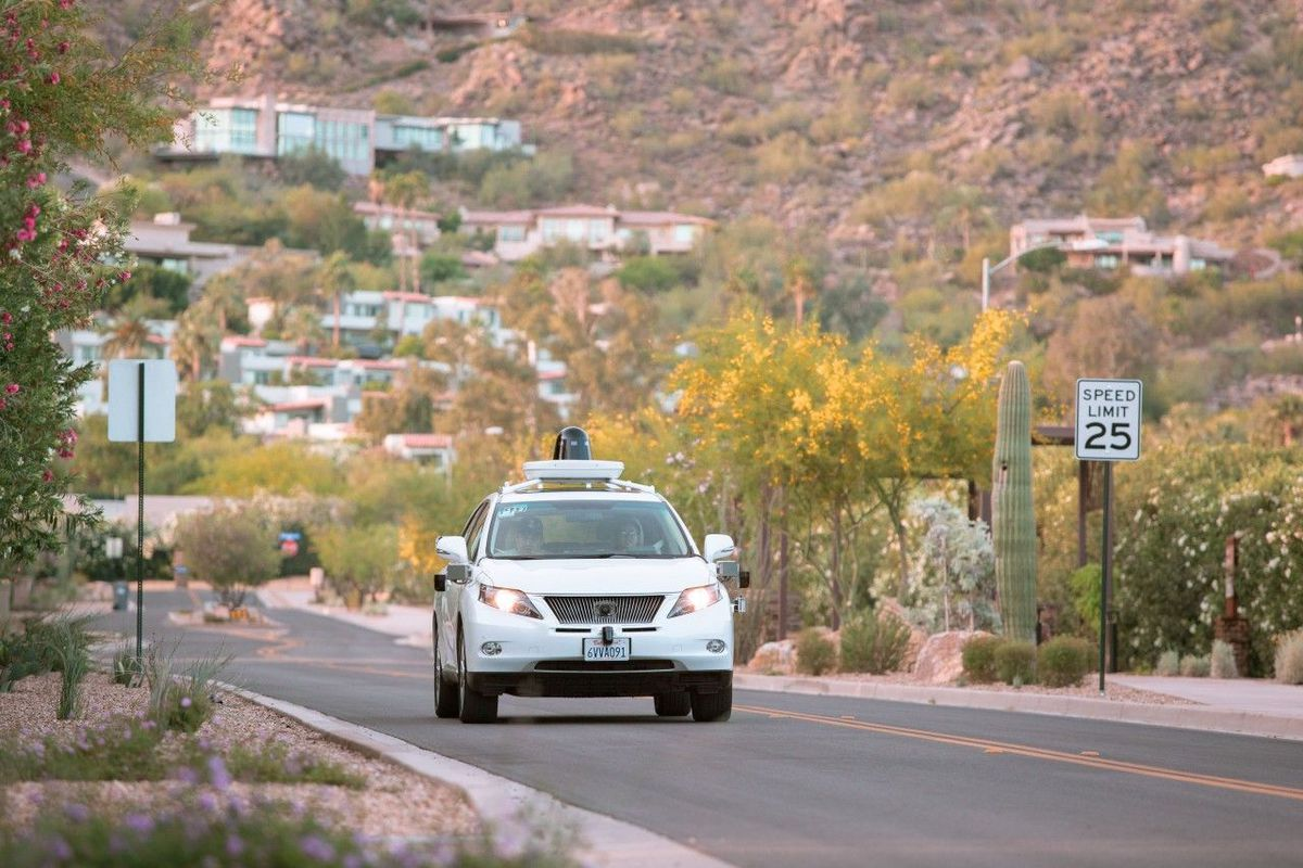 A Google self-driving car on the road