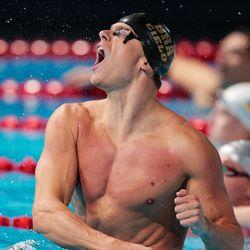 Cesar Cielo Filho of Brazil celebrates winning the Swimming Men's 50m Butterfly Final.