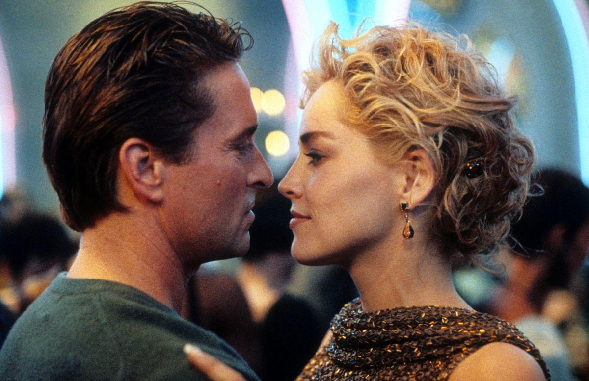 Michael Douglas and Sharon Stone dancing in scene from the film 'Basic Instinct', 1992.