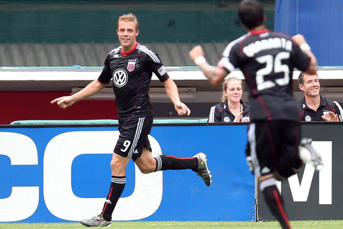 WASHINGTON - AUGUST 22: Danny Allsopp #9 of D.C. United celebrates after a goal against Philadelphia Union at RFK Stadium on August 22 2010 in Washington DC. (Photo by Ned Dishman/Getty Images)