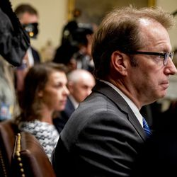 Rep. Peter Roskam, R-Il., attends a meeting with President Donald Trump in the Cabinet Room of the White House, Tuesday, July 17, 2018, in Washington. Trump says he meant the opposite when he said in Helsinki that he doesn't see why Russia would have interfered in the 2016 U.S. elections. | AP Photo/Andrew Harnik