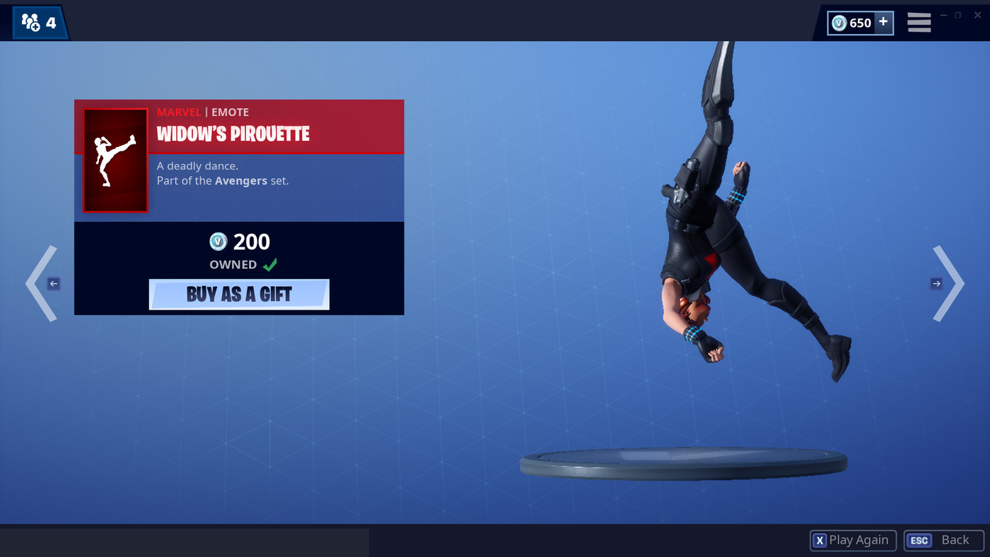 Black widow skin fortnite cost