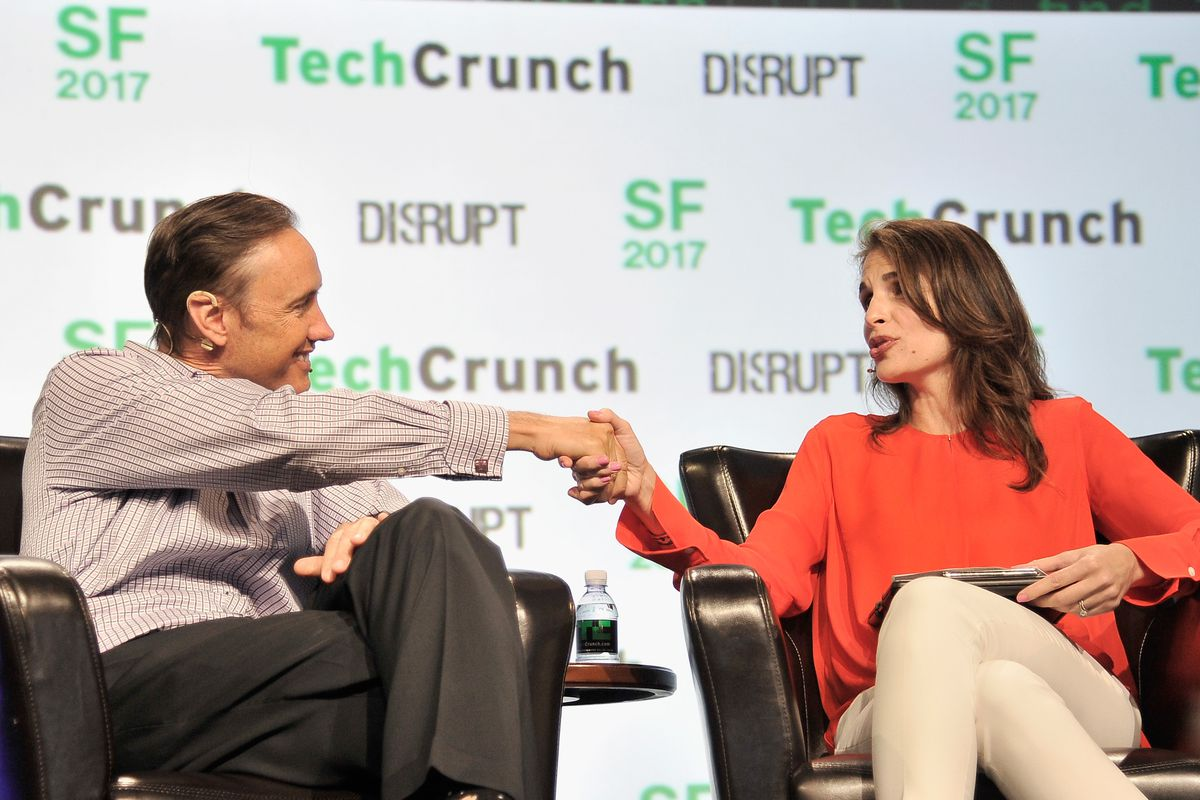 Steve Jurvetson, left, and moderator Connie Loizos, onstage at TechCrunch Disrupt