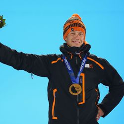 Gold medalist Stefan Groothuis of the Netherlands celebrates during the medal ceremony for the Speed Skating Men's 1000m