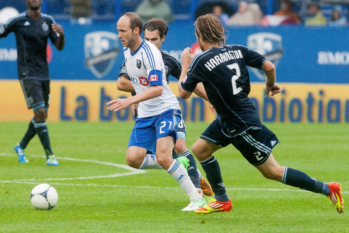Justin Mapp playing for the Montreal Impact in 2012. He was selected in the expansion draft and was on the team's inaugural roster.