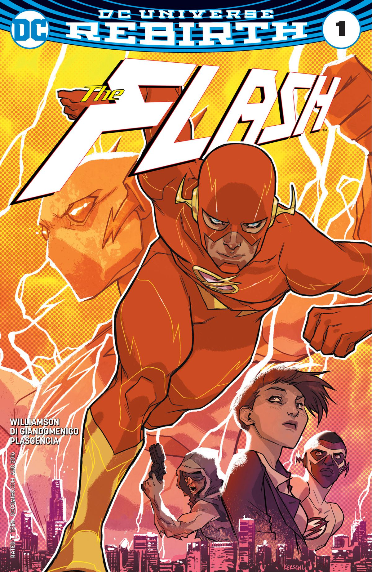 The Flash dashes through a lightning storm on the cover of The Flash #1, DC Comics (2016).