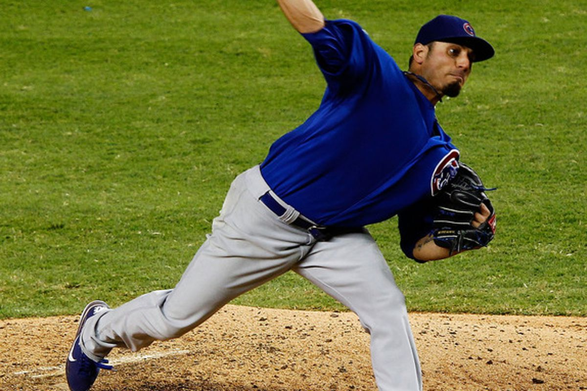 Matt Garza of the Chicago Cubs pitches during a game against the Miami Marlins at Marlins Park in Miami, Florida.  (Photo by Mike Ehrmann/Getty Images)