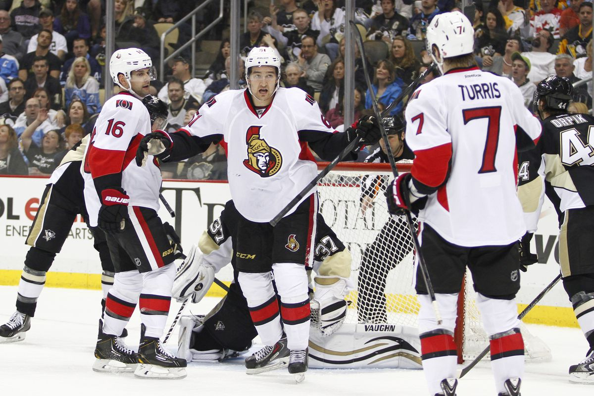 A familiar reaction when MacArthur, Turris, and Stone were on the ice together.