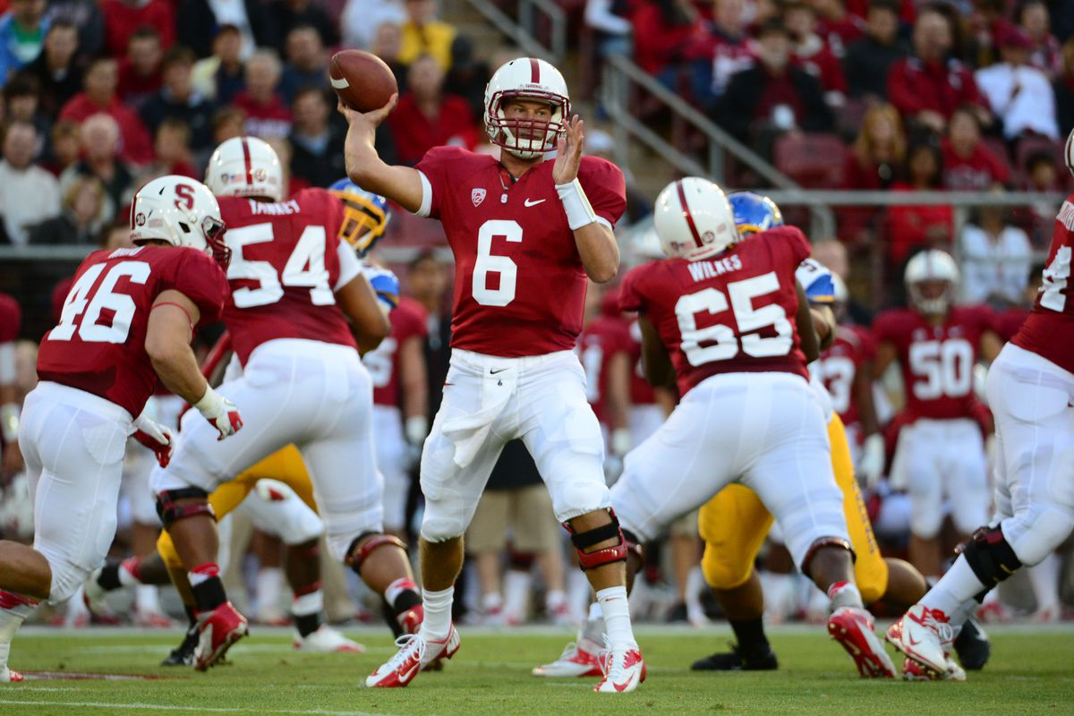 August 31, 2012; Stanford, CA, USA; Stanford Cardinal quarterback Josh Nunes (6) passes the ball during the first quarter against the San Jose State Spartans at Stanford Stadium. Mandatory Credit: Kyle Terada-US PRESSWIRE