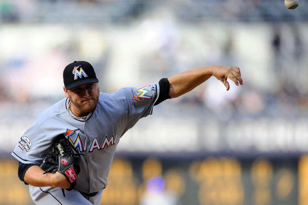 May 5, 2012; San Diego, CA, USA;  Miami Marlins starting pitcher Mark Buehrle (56) throws during the first inning against the San Diego Padres at Petco Park.  Mandatory Credit: Christopher Hanewinckel-US PRESSWIRE