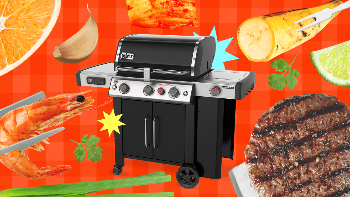 A photo illustration Weber Genesis Smart Grill surrounded by different grilling ingredients, like burgers and shrimp, and grilling tools.
