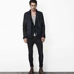 """You absolutely can not go wrong with a leather jacket, and this All Saints version is as cool as they come $768 at <a href=""""http://www.allsaints.com/men/leathers/allsaints-level-biker/?colour=1248&category=489"""">All Saints</a>"""