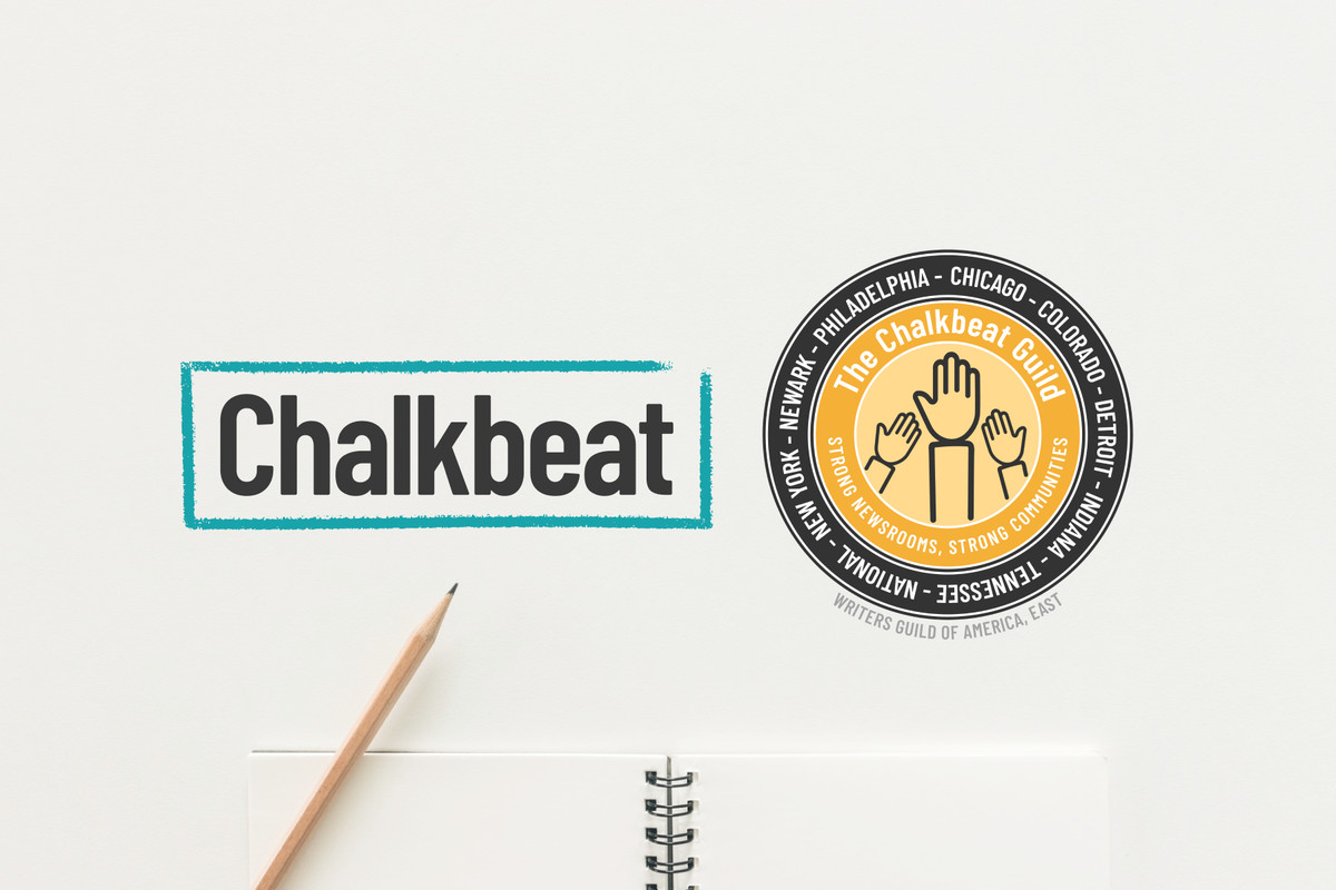 Chalkbeat logo and The Chalkbeat Guild logo and a pencil and notebook against a white background.
