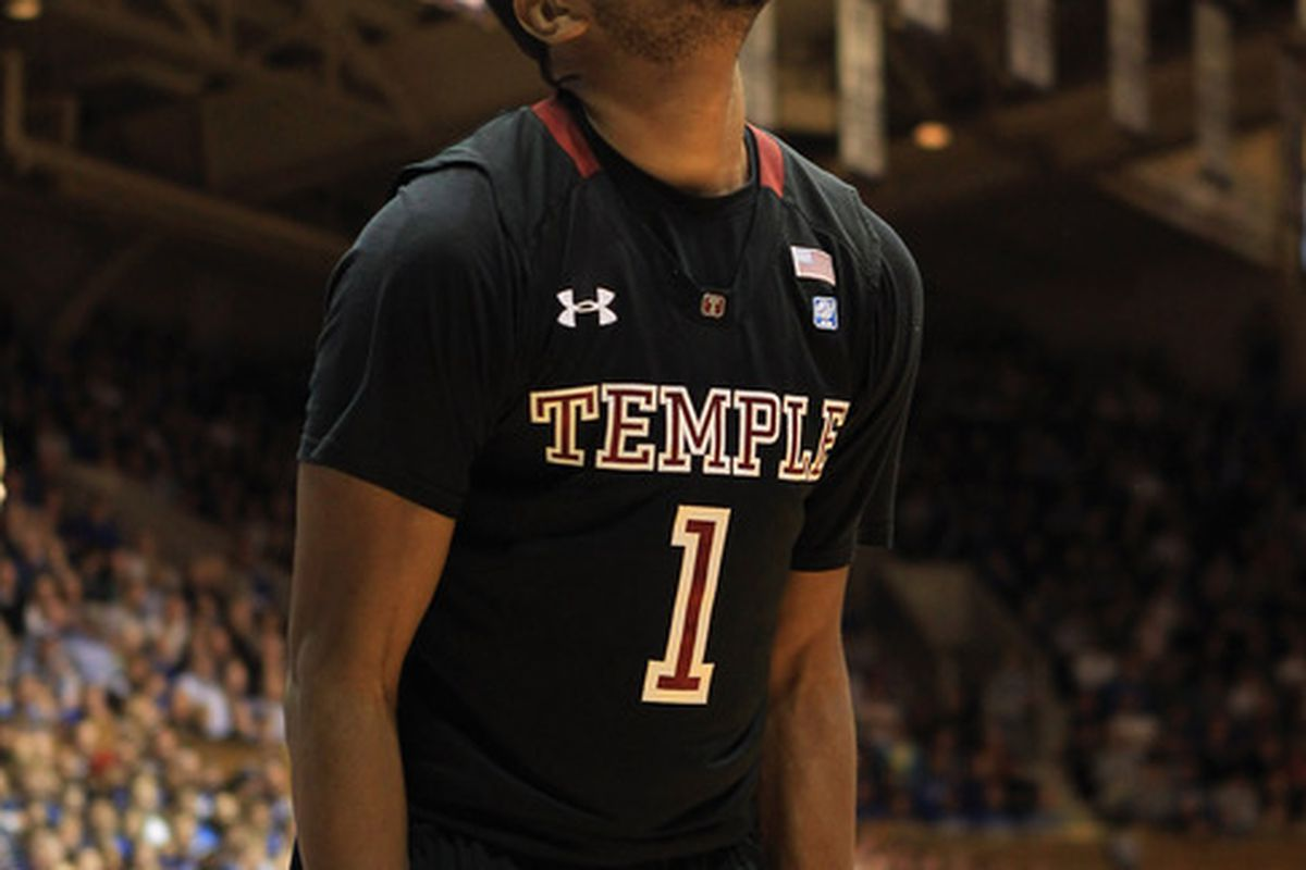 DURHAM NC - FEBRUARY 23:  Khalif Wyatt #1 of the Temple Owls reacts to a call against the Duke Blue Devils during their game at Cameron Indoor Stadium on February 23 2011 in Durham North Carolina.  (Photo by Streeter Lecka/Getty Images)