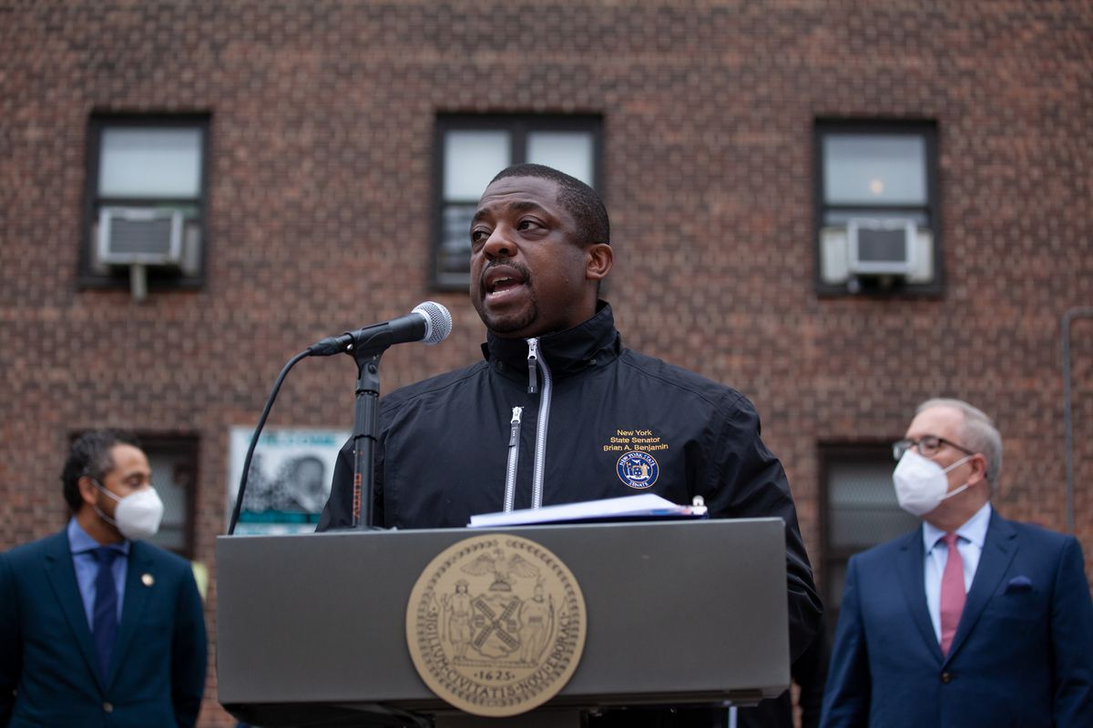 State Senator Brian Benjamin speaks about funding for NYCHA outside the Martin Luther King Jr. Towers in Harlem. Oct. 26, 2020.