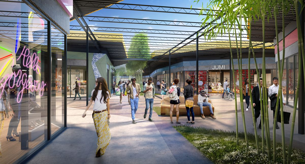 Another rendering shows the blue sky peeking through the fissure at the public space crowded with people.