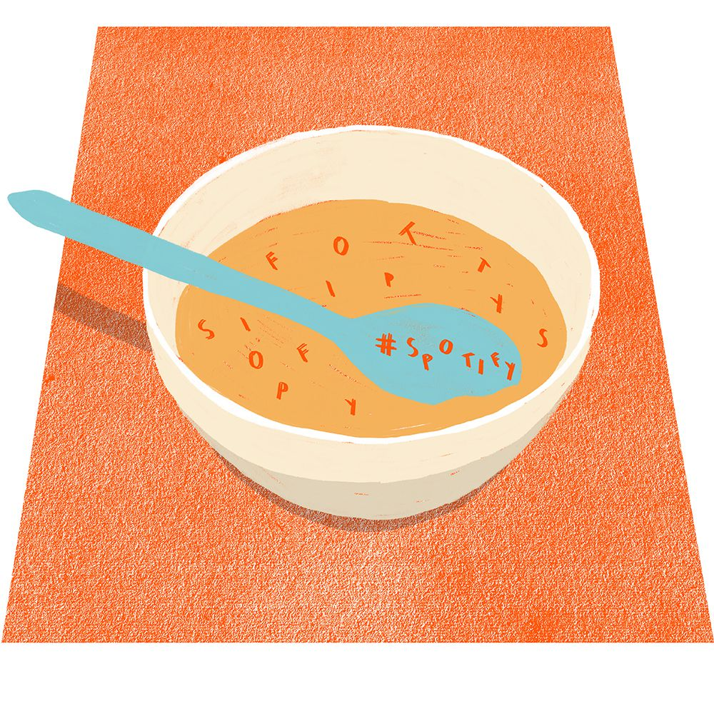 An illustration of a bowl of alphabet soup with SPOTIFY spelled out on the spoon