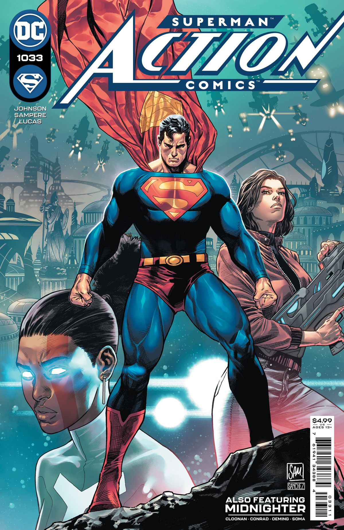 Superman stands ready on the cover of Action Comics #1033, DC Comics (2021).