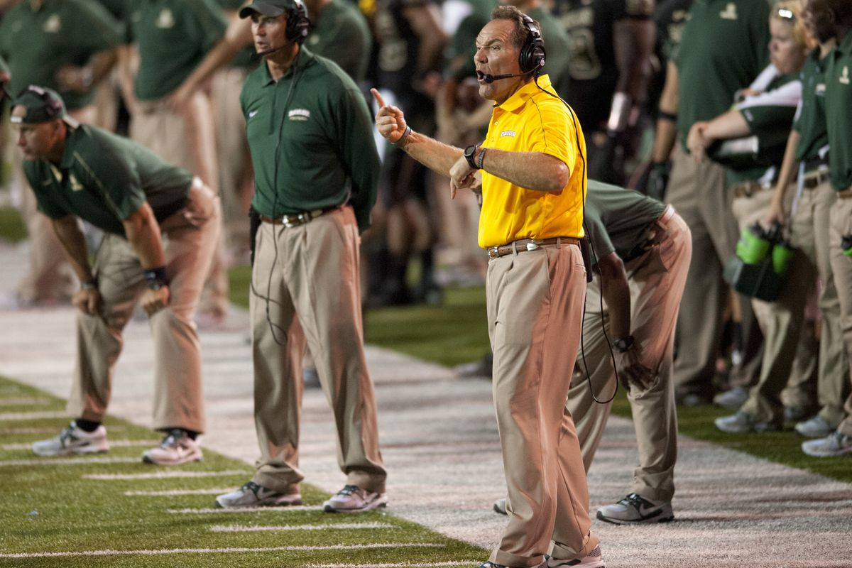 WACO, TX - SEPTEMBER 2: Tom Mason, Defensive Cordinator of the Baylor University Bears calls in a play from the sidelines against the SMU Mustangs on September 2, 2012 at Floyd Casey Stadium in Waco, Texas.  (Photo by Cooper Neill/Getty Images)