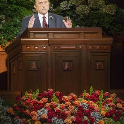 President Thomas S Monson speaks during the Saturday morning session of the 183rd Semiannual General Conference for the Church of Jesus Christ of Latter-day Saints Saturday, Oct. 5, 2013 inside the Conference Center.