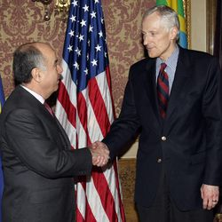 His Excellency Mauro Vieira Ambassador to the United States for Brazil (left) visits with Utah's Lt. Governor Greg Bell Monday, April 11, 2011 in the Gold room of the Utah State Capitol.