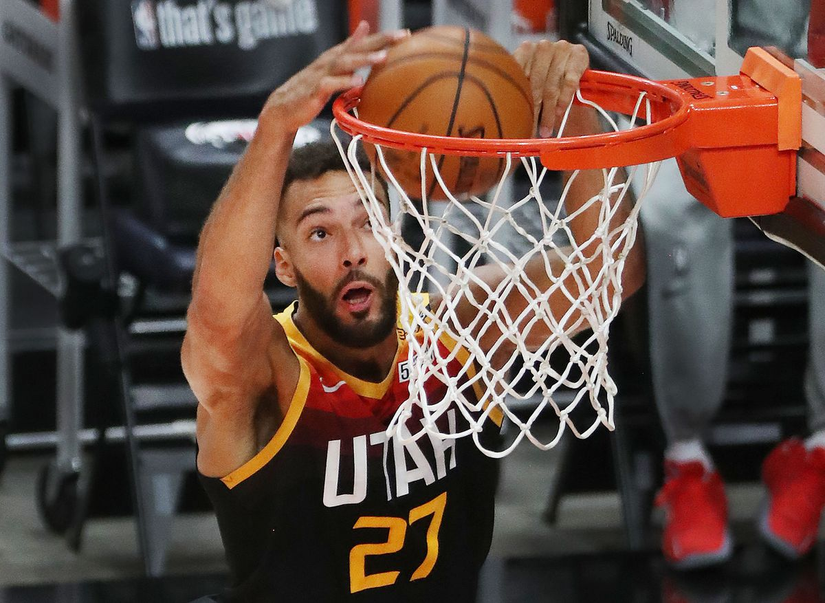 Utah Jazz center Rudy Gobert (27) dunks against the LA Clippers during Game 5 of their NBA playoff series in Salt Lake City on Wednesday, June 16, 2021.