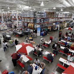 Customers eat at the world's largest Costco, 1818 S. 300 West, in Salt Lake City on Friday, Oct. 30, 2015.