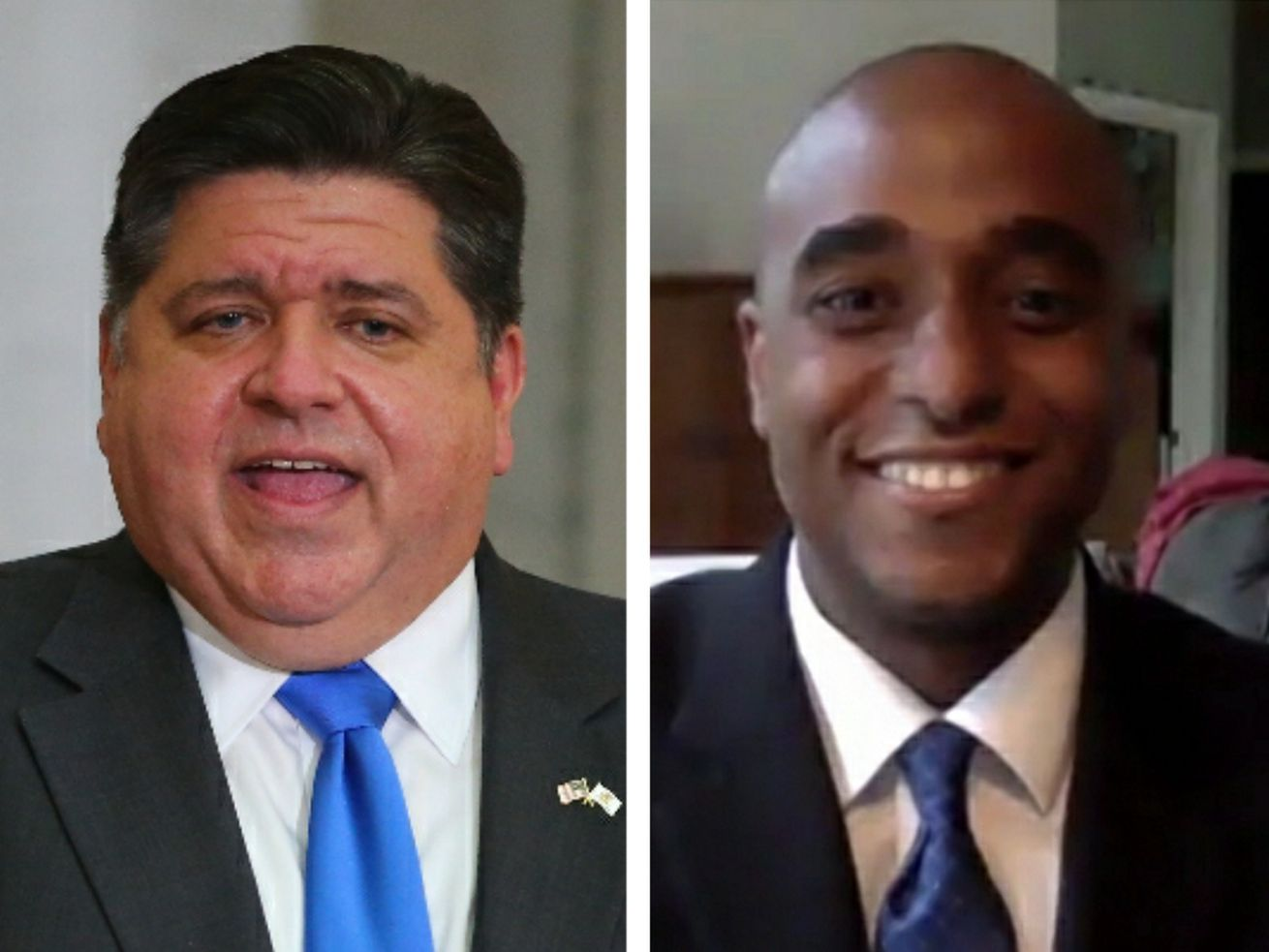 Gov. J.B. Pritzker, left; Democratic House candidate Ken Mejia-Beal, right.