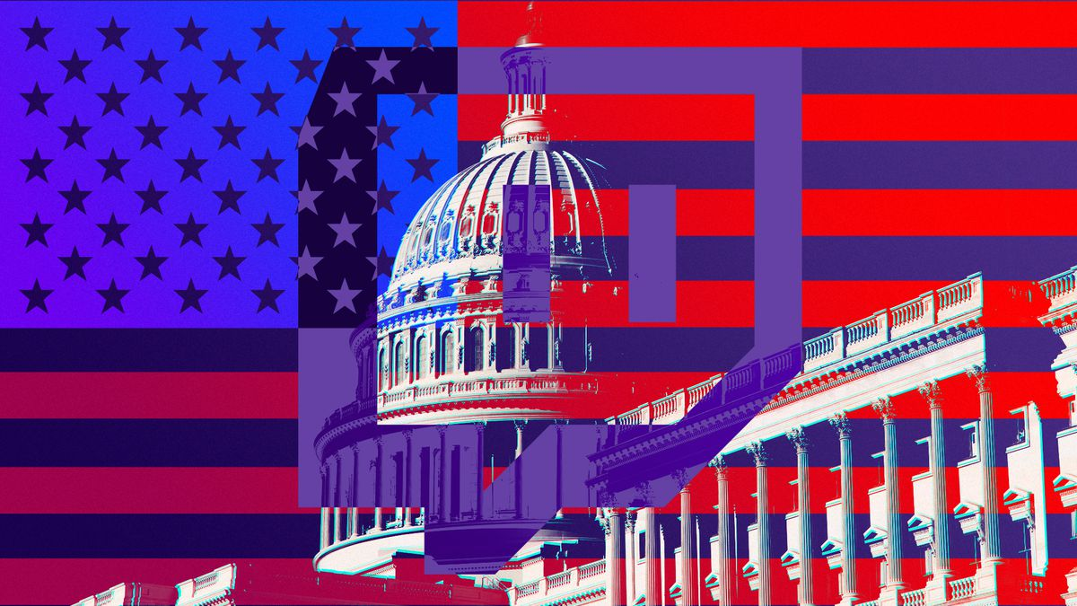 Illustration featuring the US Govt building, the US flag and the logo for the Twitch streaming platform