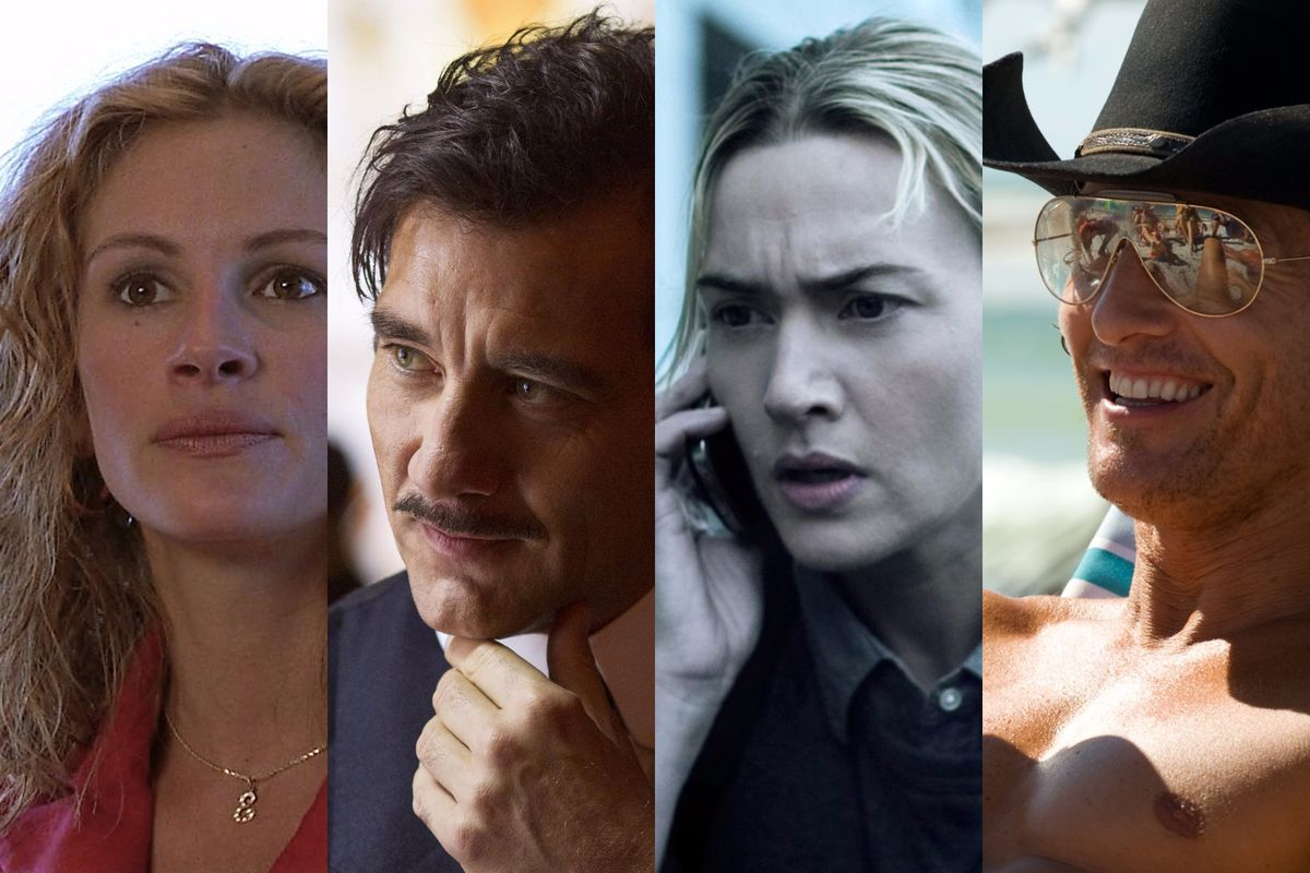 Julia Roberts in Erin Brokovich, Clive Owen in The Knick, Kate Winslet in Contagion, and Matthew McConaughey in Magic Mike