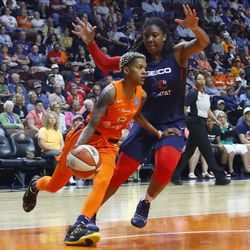 The Washington Mystics take on the Connecticut Sun in a WNBA game at Mohegan Sun Arena in Uncasville, CT on June 11, 2019.