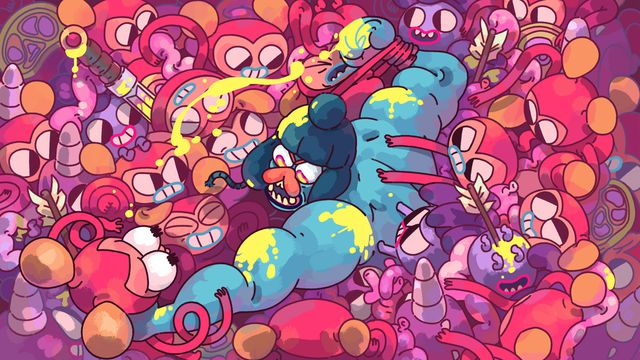 An illustration of Grindstone's Jorj the viking being overwhelmed by a mob of brightly colored monsters, clinging to his arms as he tries to escape.