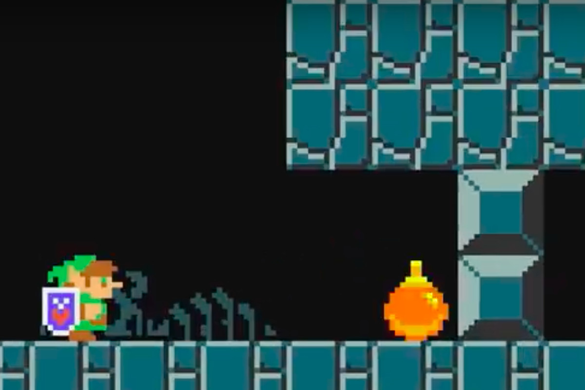 Link stands in a Mario Maker 2 level.