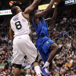 Randy Foye of the Utah Jazz defends against Darren Collison of the Dallas Mavericks during NBA basketball in Salt Lake City, Monday, Jan. 7, 2013.