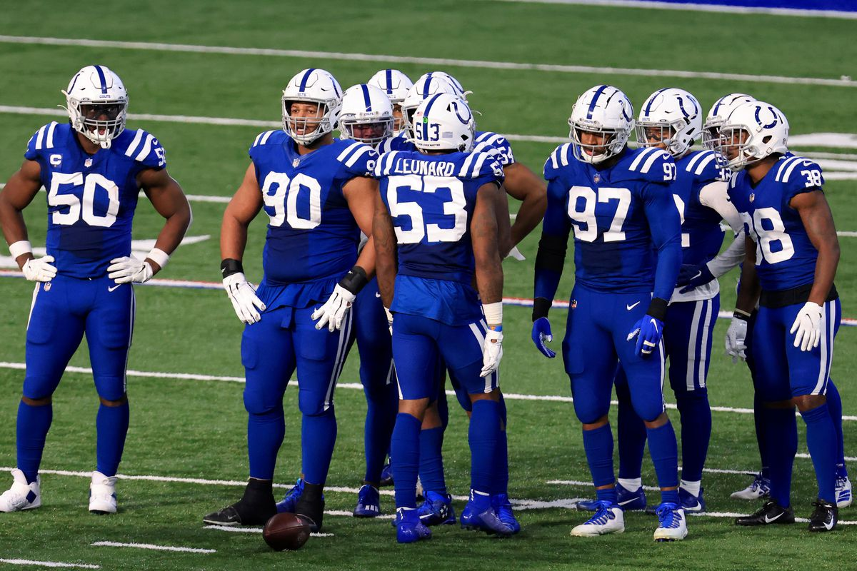 Darius Leonard #53 and the Indianapolis Colts defense on the field in the game against the Houston Texans at Lucas Oil Stadium on December 20, 2020 in Indianapolis, Indiana.