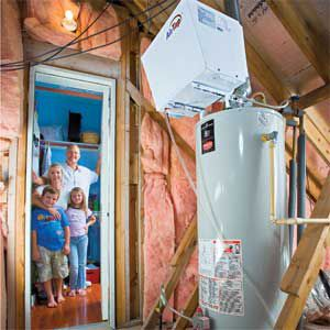 <p>Jim and Rachel King, with kids Jimmy and Ally, retrofitted their water tanks with a heat-pump device and stopped paying for propane.</p>