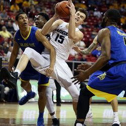 Utah State Aggies Norbert Janicek comes down with the rebound against San Jose State Spartans' Brandon Clarke at the Mountain West Men's Basketball Championships at the Thomas & Mack Center, Las Vegas, Nevada on Wednesday, March 8, 2017.