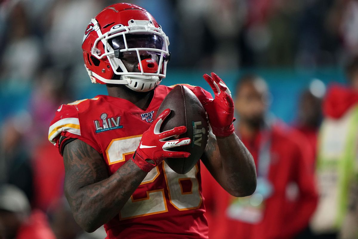 Kansas City Chiefs running back Damien Williams celebrates after scoring a touchdown during the fourth quarter against the San Francisco 49ers at Hard Rock Stadium.