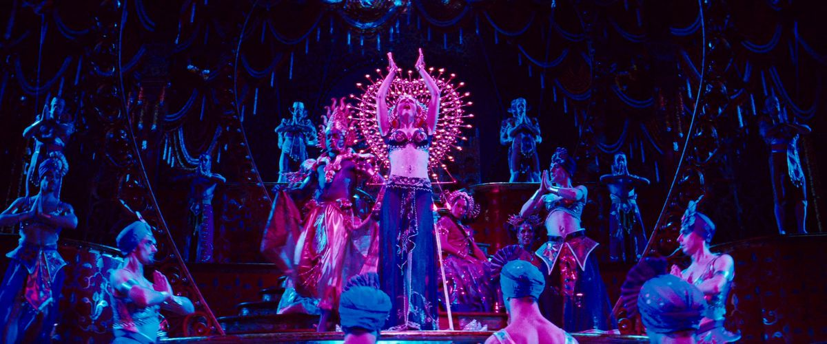 Nicole Kidman leads a stage ensemble in a Bollywood spectacular in Moulin Rouge