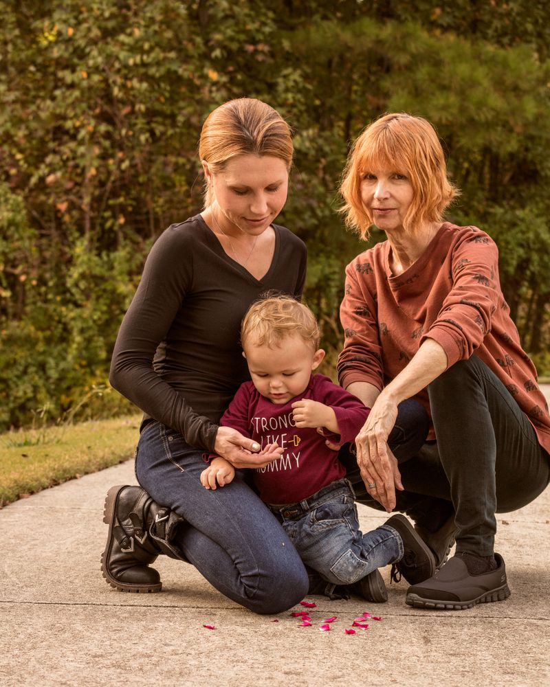 Erin Kane, her son Aiden, and her mother Nan Warren, near their home in North Carolina.