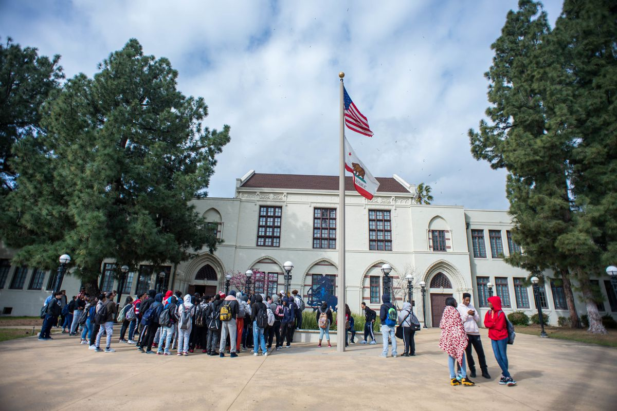 Black students protested the dress code at John Muir High School in Pasadena, California earlier this year. It was one of the schools the district invested in after winning a federal magnet schools grant. The district had also applied for school integration funding.