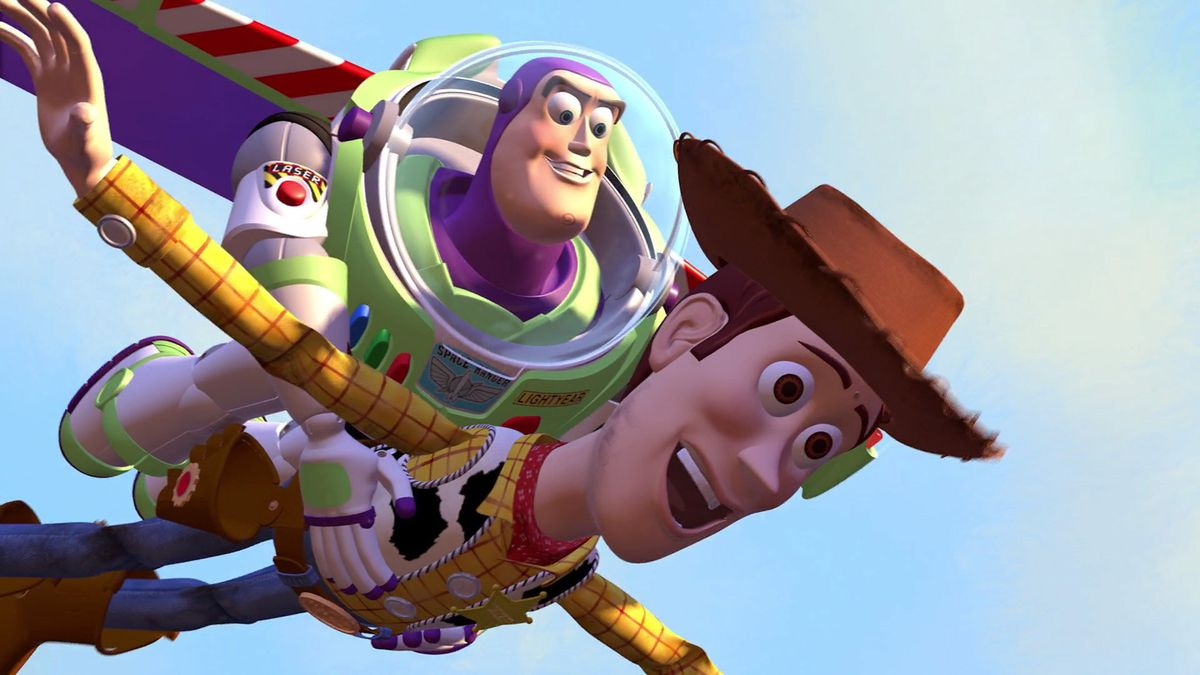 Buzz (Tim Allen) flies with Woody (Tom Hanks) above a Pixar blue sky