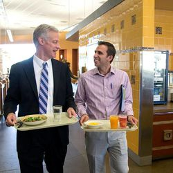 New BYU President Kevin J Worthen chats with student Malcolm Miguel Botto on Thursday, Worthen's first day on the job. He stopped by a campus cafeteria for an impromptu lunch with students.