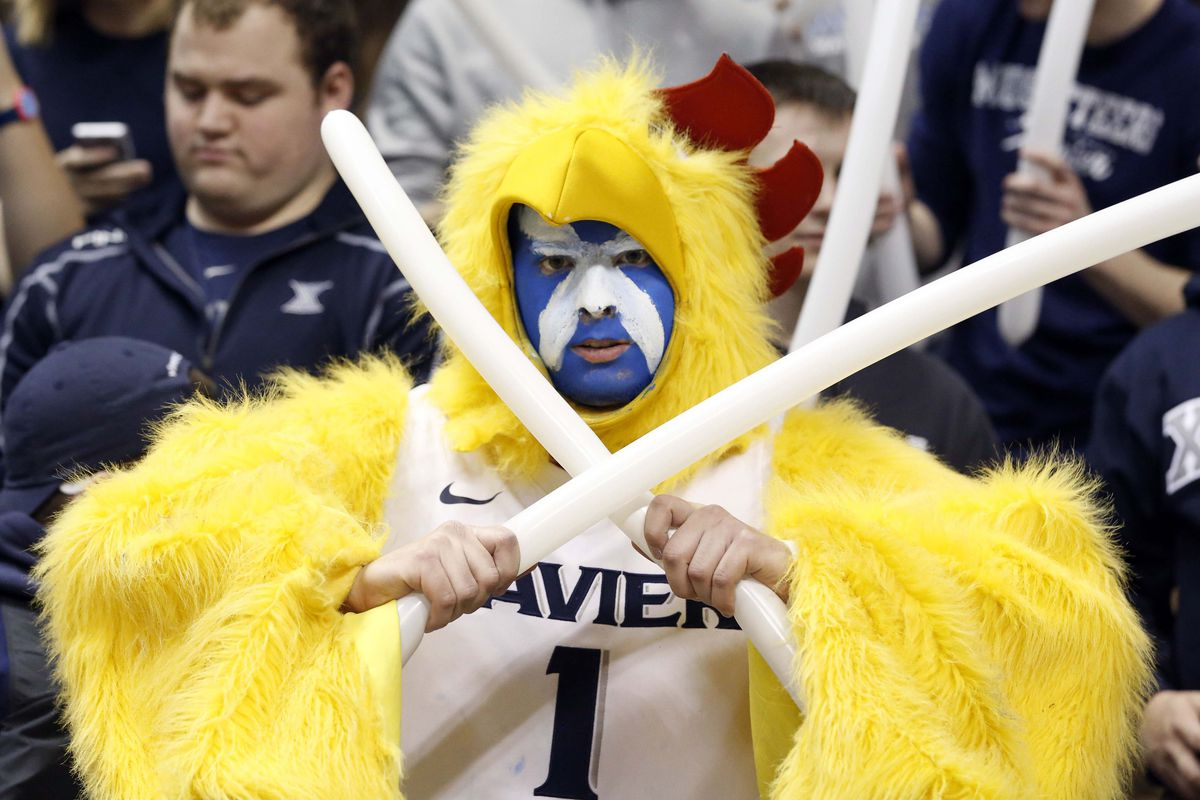 About as intense as a man in a chicken suit holding more than one balloon can look.
