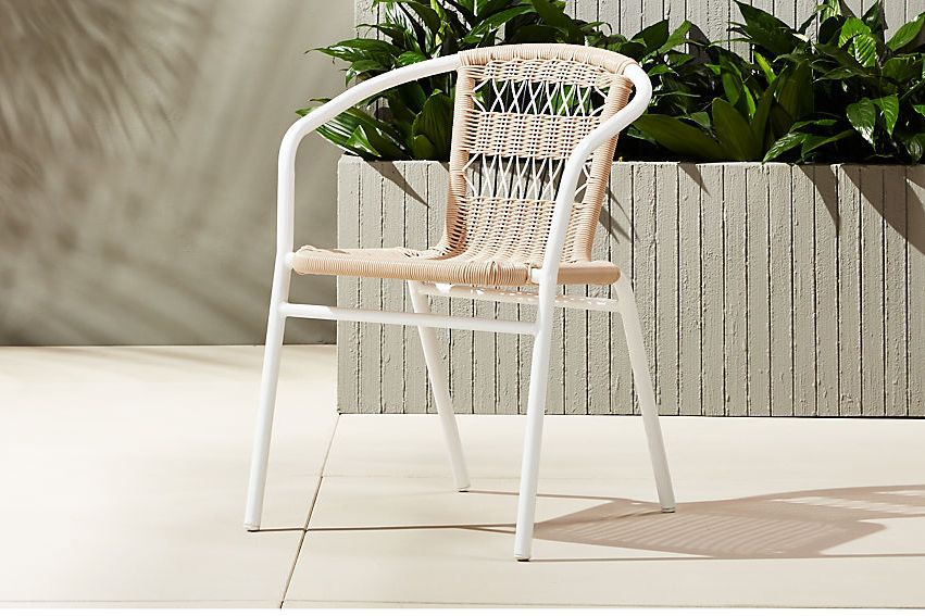 White and woven outdoor chair.