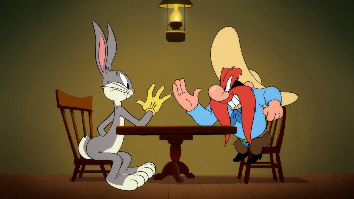 Yosemite Sam and Bugs Bunny square off.