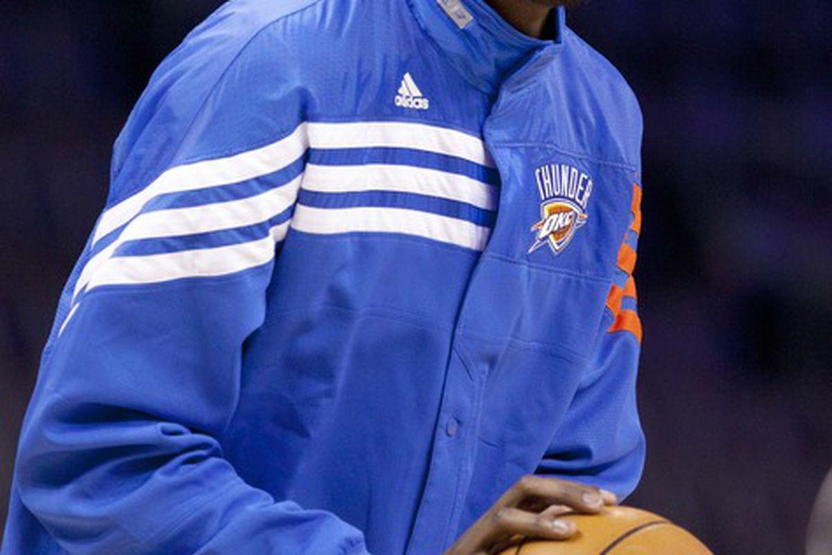 April 24, 2012; Oklahoma City  OK, USA; Oklahoma City Thunder small forward Kevin Durant (35) before the game against the Sacramento Kings at Chesapeake Energy Arena. Mandatory Credit: Richard Rowe-US PRESSWIRE